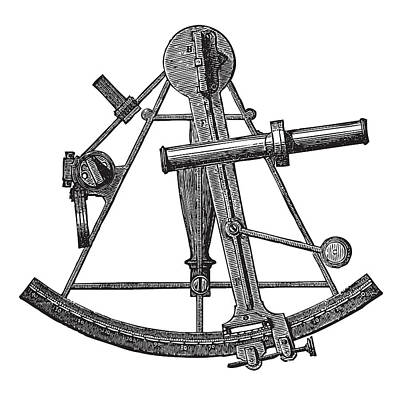 Drawing - Sextant Historic Engraving by Ticky Kennedy LLC