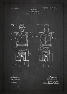 Armor Digital Art - Sexual Armor Patent Drawing From 1908 by Aged Pixel