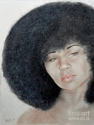 Drawing - Sexy Aevin Dugas Holder Of The Guinness Book Of World Records For The Largest Afro by Jim Fitzpatrick