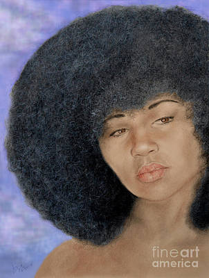 Drawing - Sexy Aevin Dugas Holder Of The Guinness Book Of World Records For The Largest Afro Version II by Jim Fitzpatrick