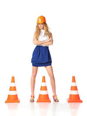Suggestive Photograph - Sexy Construction Woman by Konstantin Sutyagin