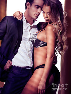 Woman Lingerie Photograph - Sexy Couple Portrait Woman In Lingerie And Man In Suit by Oleksiy Maksymenko