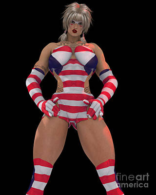 Digital Art - Sexy Female Super Hero In Red White And Blue Costume by R Muirhead Art