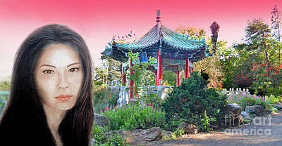 Photograph - Sexy Freckle Faced Beauty Lucy Liu Altered Version II by Jim Fitzpatrick