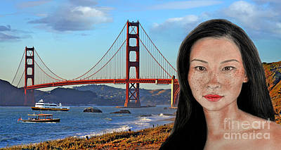 Photograph - Sexy Freckle Faced Beauty Lucy Liu Altered Version by Jim Fitzpatrick