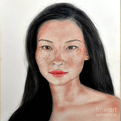 Drawing - Sexy Freckle Faced Beauty Lucy Liu by Jim Fitzpatrick