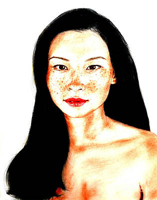 Drawing - Sexy Freckle Faced Beauty Lucy Liu Version II by Jim Fitzpatrick