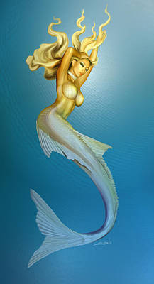 Sexy Mermaid By Spano Art Print