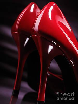 Sexy Red High Heel Shoes Closeup Art Print