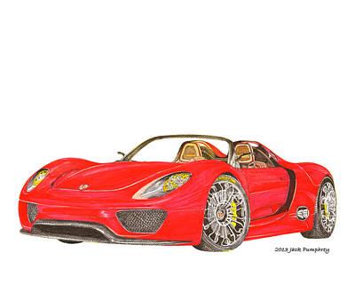 Brakes Drawing - Sexy Spyder Porsche 918 by Jack Pumphrey