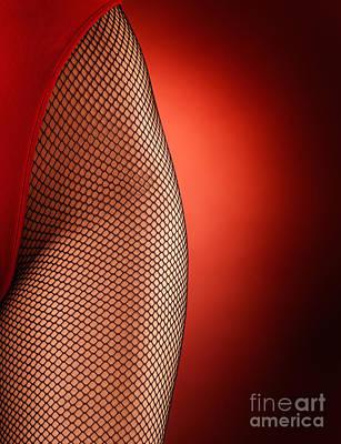 Sexy Woman Hips In Fishnet  Art Print by Oleksiy Maksymenko