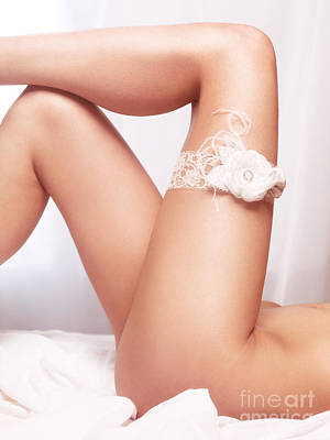 Nude Bride Photograph - Sexy Woman Legs With Bridal Garter by Oleksiy Maksymenko