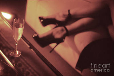 Sexy Young Lady In Stiletto High Heel Shoes And Glass Of Champagne Art Print by Edward Olive