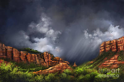 Painting - Thunderstorm In Sedona by S G