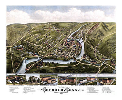Vintage Map Painting - Seymour-connecticut-1879. by Pablo Romero
