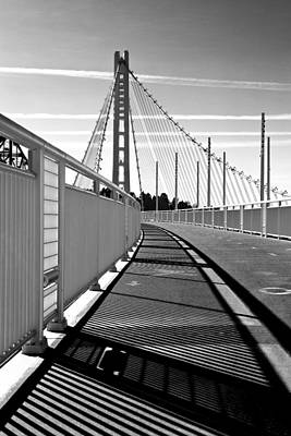 Sf Bay Bridge Pedestrian Path In Bw Art Print