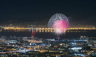 Sf Giants Post-game Fireworks Show Art Print