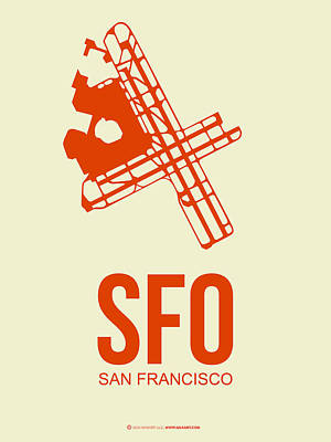 Digital Art - Sfo San Francisco Airport Poster 1 by Naxart Studio