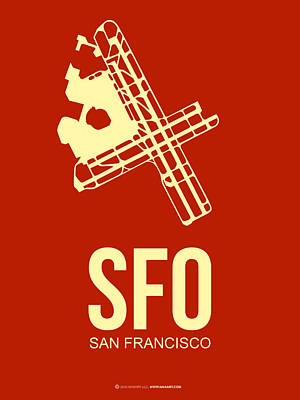 Town Mixed Media - Sfo San Francisco Airport Poster 2 by Naxart Studio