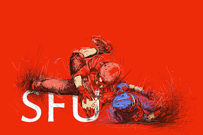 Rugby Painting - Sfu Art by Catf