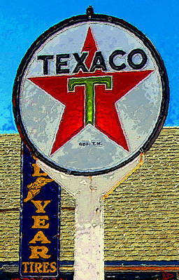 Texaco Wall Art - Painting - The Big Red Star by David Lee Thompson
