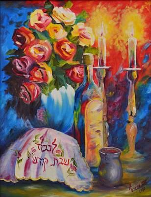 Shabbos Painting - Shabbat Glow by Sara Schwartz