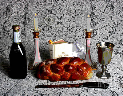 Shabbos Photograph - Shabbos Lace And Candles by Larry Oskin