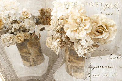 Parisian Chic Photograph - Shabby Chic Cottage Chic Vintage Impressionistic White Roses With French Script - White Roses by Kathy Fornal