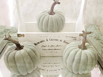 Of Fall Photograph - Shabby Chic Pastel White Vintage French Basket Of Pumpkins by Kathy Fornal