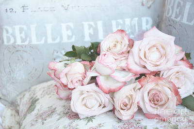 In Baskets Photograph - Shabby Chic Pink Roses - Dreamy Pink Romantic Cottage Roses by Kathy Fornal
