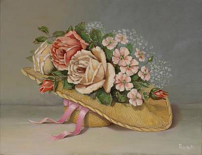 Painting - Shabby Chic Roses by Radoslav Nedelchev