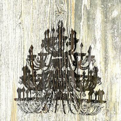 Shabby Chic Rustic Black Chandelier On White Washed Wood Art Print by Suzanne Powers