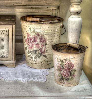 Photograph - Shabby Chic Vases by Radoslav Nedelchev