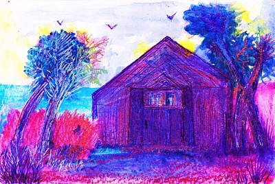 Shack And Trees By The Water Art Print by Anne-Elizabeth Whiteway