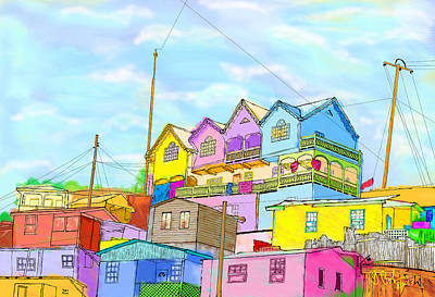 Painting - Shacks On The Hill by Gerry Robins