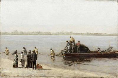 Net Painting - Shad Fishing At Gloucester On The Delaware River by Thomas Eakins