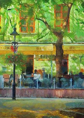 European City Digital Art - Shaded Cafe by Jeff Kolker