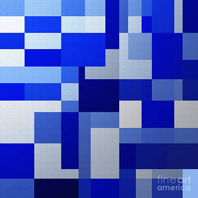 Andee Design White Digital Art - Shades Of Blue Abstract Square by Andee Design