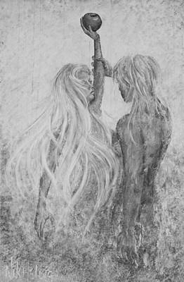 Art Print featuring the painting Shades Of Gray - Adam And Eve by Nik Helbig