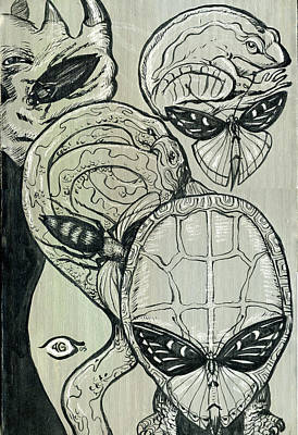 Turtle Mixed Media - Shades Of Grays Three by John Ashton Golden