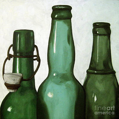 Bottles Painting - Shades Of Green - Bottles by Linda Apple