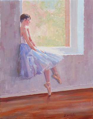 Window Sill Painting - Shades Of Lavender Two by Laura Lee Zanghetti