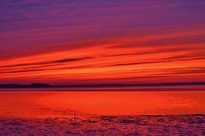 Shades Of Orange And Purple Sunset Art Print by William Bartholomew