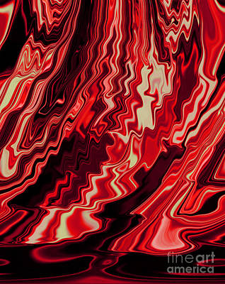 Shades Of Red And Black Blending Together Flowing Rippled Motion Art Print by Adri Turner