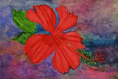 Linda Brown Painting - Shades Of Red Hibiscus by Linda Brown