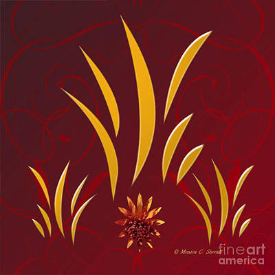Digital Art - Shades Of Yellow Leaves And Red Flower On Red Design by Monica C Stovall