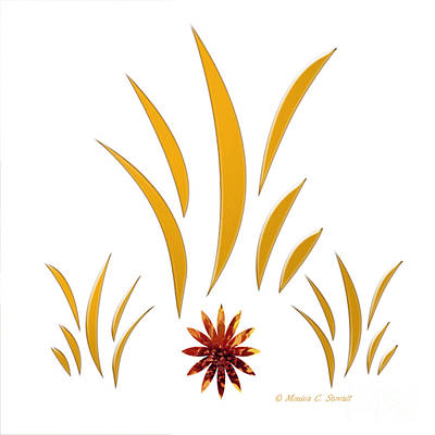 Digital Art - Shades Of Yellow Leaves And Red Flower On White Design by Monica C Stovall