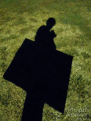 Photograph - Shadow Carrying Art Portfolio And Drinking A Soda by Renee Trenholm