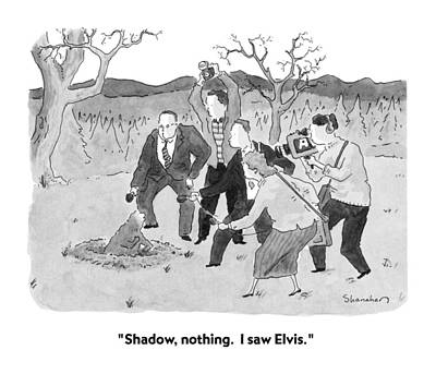 Elvis Presley Drawing - Shadow, Nothing.  I Saw Elvis by Danny Shanahan