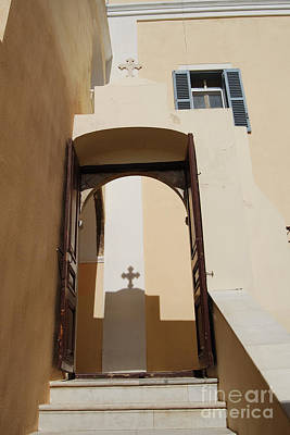 Photograph - Shadow Of Cross On Santorini Greece Catholic Church Wall by Eva Kaufman
